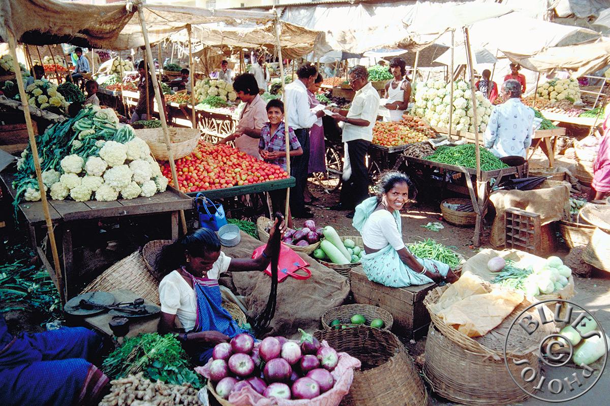 En route pour Mysore, marché de légumes