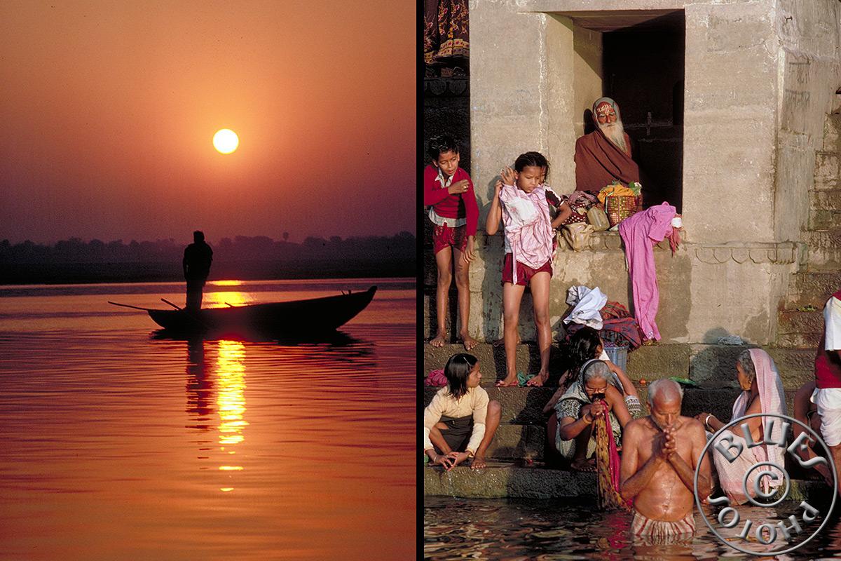 Bénarès, lever du soleil .... bains rituels hindous au bord du Gange