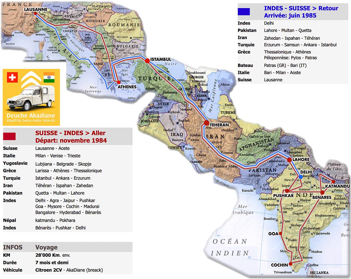 Carte et détails du voyage en 2CV Suisse-Indes et retour (1984-85)